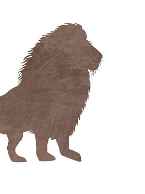 Animals Mixed Media - Minimal Lion Silhouette - Scandinavian Nursery Decor - Animal Friends - For Kids Room - Brown by Studio Grafiikka