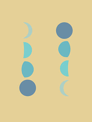 Royalty-Free and Rights-Managed Images - Minimal Moon Phases 2 - Lunar Cycle Print - La Luna - Mid-century modern, Scandinavian Abstract by Studio Grafiikka