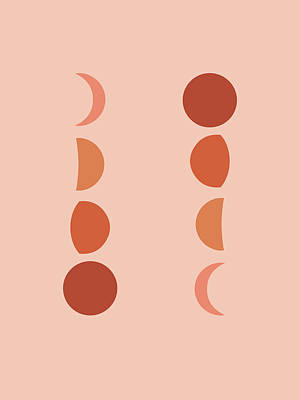 Royalty-Free and Rights-Managed Images - Minimal Moon Phases - Lunar Cycle Print - La Luna - Mid-century modern, Scandinavian Abstract by Studio Grafiikka