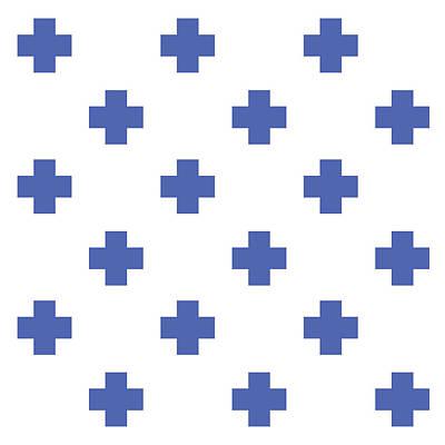 Mixed Media Royalty Free Images - Minimalist Swiss Cross Pattern - Blue, White 01 Royalty-Free Image by Studio Grafiikka