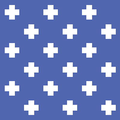 Royalty-Free and Rights-Managed Images - Minimalist Swiss Cross Pattern - Blue, White 02 by Studio Grafiikka