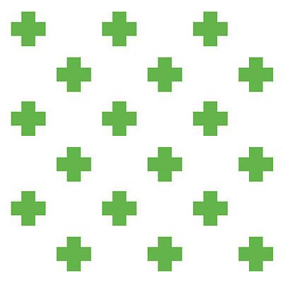 Mixed Media Royalty Free Images - Minimalist Swiss Cross Pattern - Green, White 01 Royalty-Free Image by Studio Grafiikka
