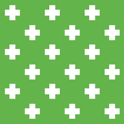 Royalty-Free and Rights-Managed Images - Minimalist Swiss Cross Pattern - Green, White 02 by Studio Grafiikka