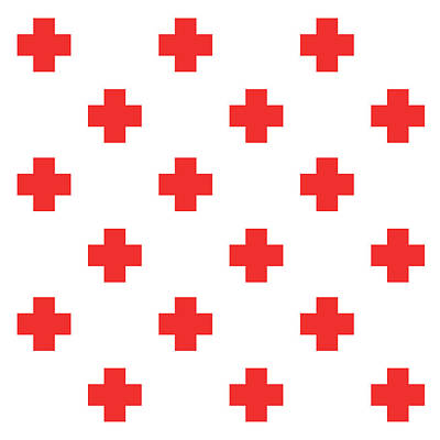 Mixed Media Royalty Free Images - Minimalist Swiss Cross Pattern - Red, White 01 Royalty-Free Image by Studio Grafiikka