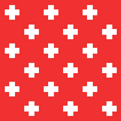 Royalty-Free and Rights-Managed Images - Minimalist Swiss Cross Pattern - Red, White 02 by Studio Grafiikka