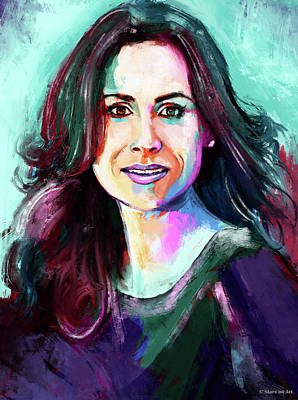 Modern Man Air Travel - Minnie Driver painting by Stars on Art