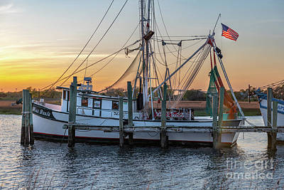 Outerspace Patenets Rights Managed Images - Miss Paula Shrimp Boat on Shem Creek - Sunset Skies Royalty-Free Image by Dale Powell