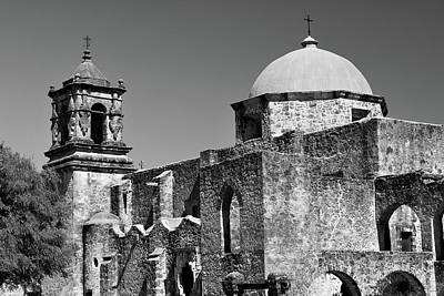 Game Of Chess - Mission San Jose in Monochrome - San Antonio Texas by Gregory Ballos