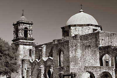 Game Of Chess - Mission San Jose in Sepia Monochrome - San Antonio Texas by Gregory Ballos