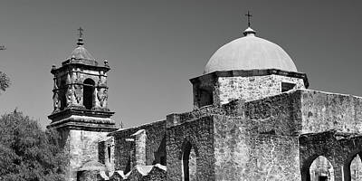 Game Of Chess - Mission San Jose Monochrome Panorama - San Antonio Texas by Gregory Ballos