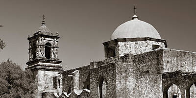 Game Of Chess - Mission San Jose Sepia Panorama  - San Antonio Texas by Gregory Ballos