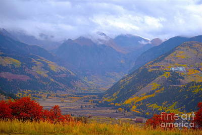 Photograph - Misty Fall Day on Telluride Mountain by Sherry Little Fawn Schuessler