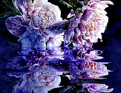 Keith Richards - Misty Moonlit Peony Reflections by Hanne Lore Koehler