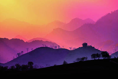 Traditional Bells Rights Managed Images - Misty Sunset in Moc Chau Royalty-Free Image by Susan Maxwell Schmidt