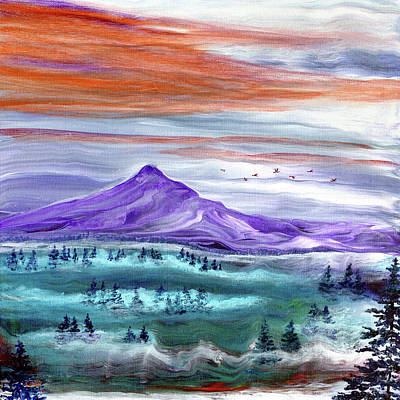 Painting - Misty Sunset over Mt. Hood by Laura Iverson