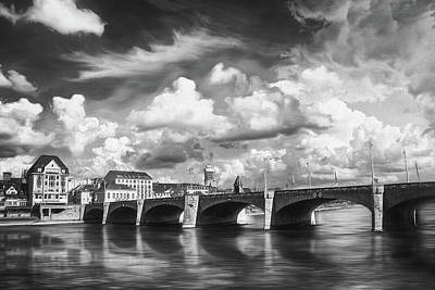 Venice Beach Bungalow - Mittlere Brucke Basel Switzerland Black and White  by Carol Japp
