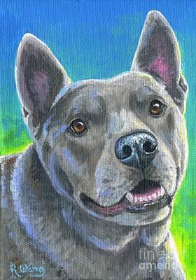 Painting - Mixed Breed Gray Dog by Rebecca Wang