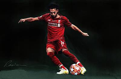 Sports Paintings - Mo Salah - Liverpool F C by Mark Robinson