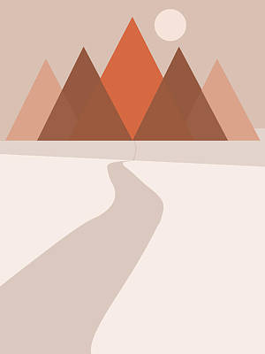Landscapes Royalty-Free and Rights-Managed Images - Modern Abstract Geometric Mountains - Nature Abstract - Terracotta Brown - Landscape by Studio Grafiikka
