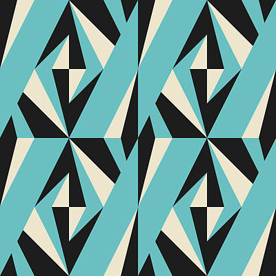 Royalty-Free and Rights-Managed Images - Modern abstract geometric seamless pattern with triangles rectangles squares and chevrons in retro scandinavian style by Julien
