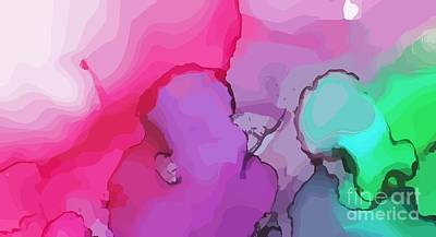 Mixed Media Royalty Free Images - Modern Abstract Magenta Turquoise Royalty-Free Image by Sarah Niebank