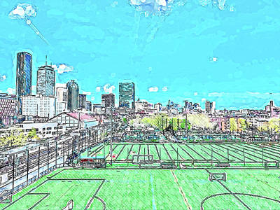 Royalty-Free and Rights-Managed Images - Modern Abstract painting of Boston skyline, United States 3 by Celestial Images