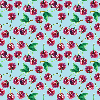 Royalty-Free and Rights-Managed Images - Modern watercolor cherry pattern. Cute cartoon cherry tree on the background. Bright juicy berries. Hand-drawn pattern. Summer berries.  by Julien