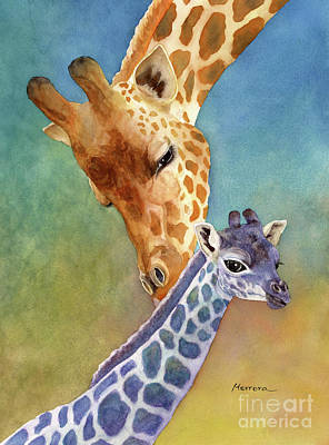 Animals Paintings - Mom and Baby Giraffe by Hailey E Herrera