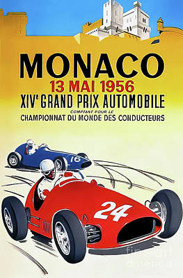 Drawings Royalty Free Images - Monaco 1956 Grand Prix Royalty-Free Image by J Ramel