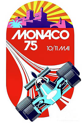 Drawings Royalty Free Images - Monaco 1975 Grand Prix Royalty-Free Image by Monaco