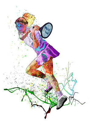 Sports Paintings - Monica Seles Passion 01 by Miki De Goodaboom