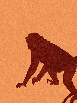 Royalty-Free and Rights-Managed Images - Monkey Silhouette - Scandinavian Nursery Decor - Animal Friends - For Kids Room - Minimal by Studio Grafiikka
