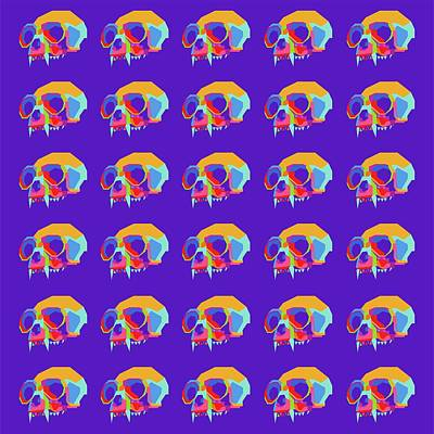 Royalty-Free and Rights-Managed Images - Monkey Skull Pattern Wpap Style Blue Background by Ahmad Nusyirwan