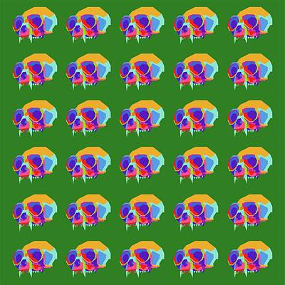 Royalty-Free and Rights-Managed Images - Monkey Skull Pattern Wpap Style Green Background by Ahmad Nusyirwan