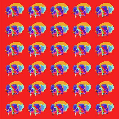 Royalty-Free and Rights-Managed Images - Monkey Skull Pattern Wpap Style Red Background by Ahmad Nusyirwan