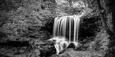 Royalty-Free and Rights-Managed Images - Monochrome Falls of Tanyard Creek - Bella Vista Arkansas Panorama by Gregory Ballos