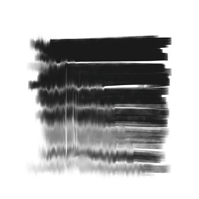 Mixed Media Royalty Free Images - Monochrome Glitch 3 - Minimal Abstract Painting - Contemporary - Modern Art - Black and White Royalty-Free Image by Studio Grafiikka