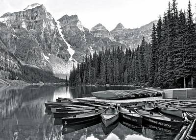 Science Collection - Monochrome Moraine and Mountains by Frozen in Time Fine Art Photography