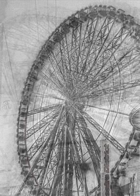 Photograph - Montage in time - Milton Keynes Theatre District Wheel by Deborah Gillett