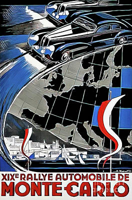 Drawings Royalty Free Images - Monte Carlo Automobile Rally 1949 Royalty-Free Image by Alexei Kogeynikov