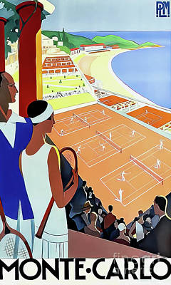 Drawings Royalty Free Images - Monte Carlo Vintage Art Deco Tennis Poster 1930 Royalty-Free Image by Rodger Broders