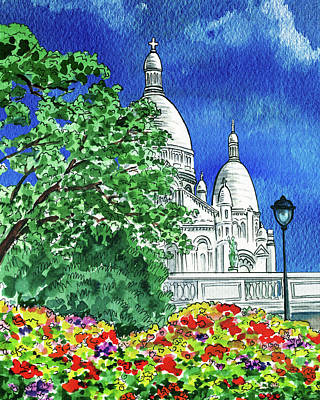 Royalty-Free and Rights-Managed Images - Montmartre Sacre Coeur Cathedral Paris France Watercolor   by Irina Sztukowski