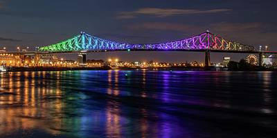 Thomas Kinkade - Montreal Jacques Cartier Bridge Illuminated by Marlin and Laura Hum