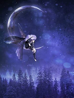 Surrealism Digital Art - Moon fairy by Mihaela Pater