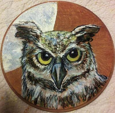 Painting - Moon Horned Owl by Julie Belmont