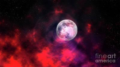 Typography Tees - Moon On Fire by Rawshutterbug