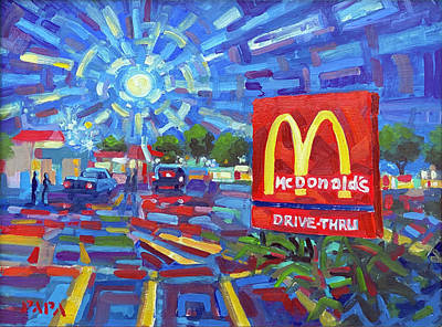 Painting - Moon Over McDonalds by Ralph Papa