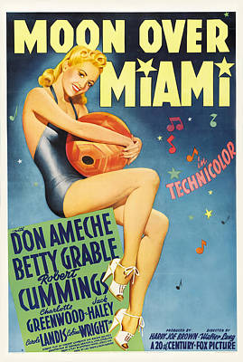 Mixed Media Royalty Free Images - Moon Over Miami, with Betty Grable, 1941 Royalty-Free Image by Stars on Art