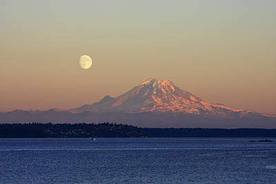 Mountain Royalty-Free and Rights-Managed Images - Moon Over Rainier by Adam Romanowicz