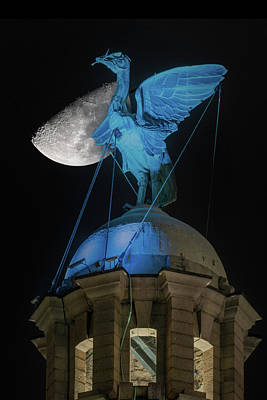 Photograph - Moon over the Liverpool Liver Bird by David Wood
